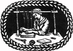 wood-engraving original print: Sewing for The London Bookbinders